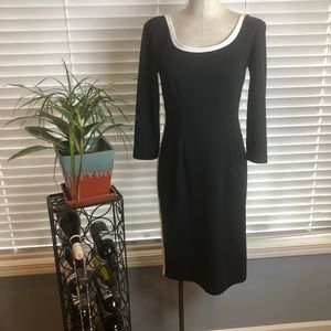 Newport News Fitted black dress with white stripes